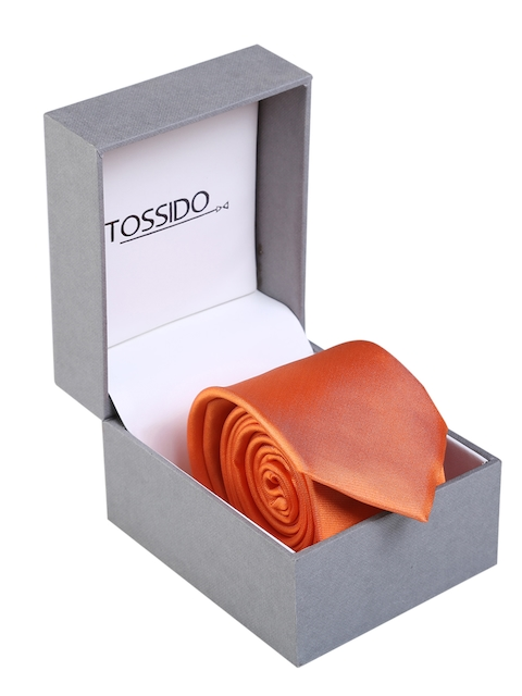 Tossido Orange Solid Skinny Tie