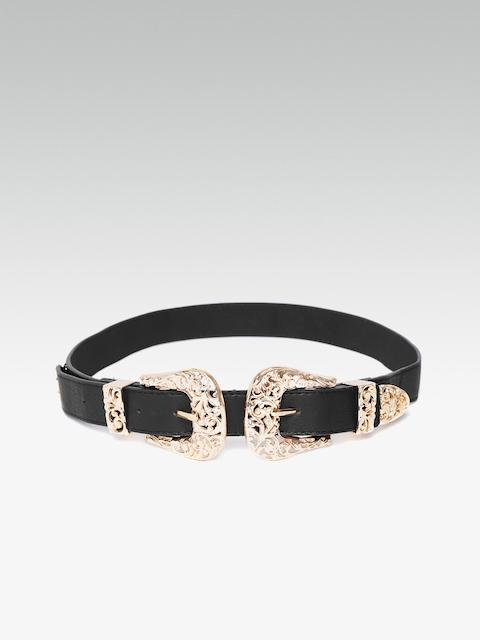 20Dresses Women Black & Gold-Toned Solid Belt