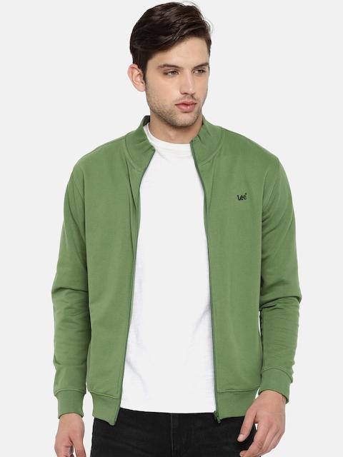 Lee Men Olive Green Solid Sweatshirt