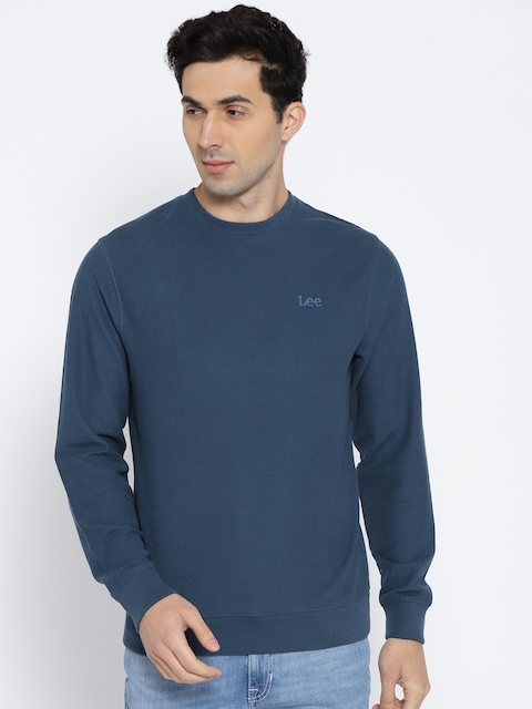 Lee Men Navy Blue Solid Sweatshirt