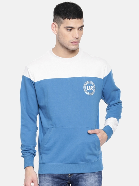 Lee Men Blue & Grey Colourblocked Sweatshirt
