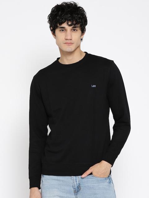 Lee Men Black Solid Sweatshirt
