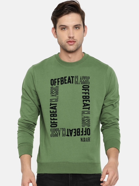 Lee Men Olive Green Printed Sweatshirt