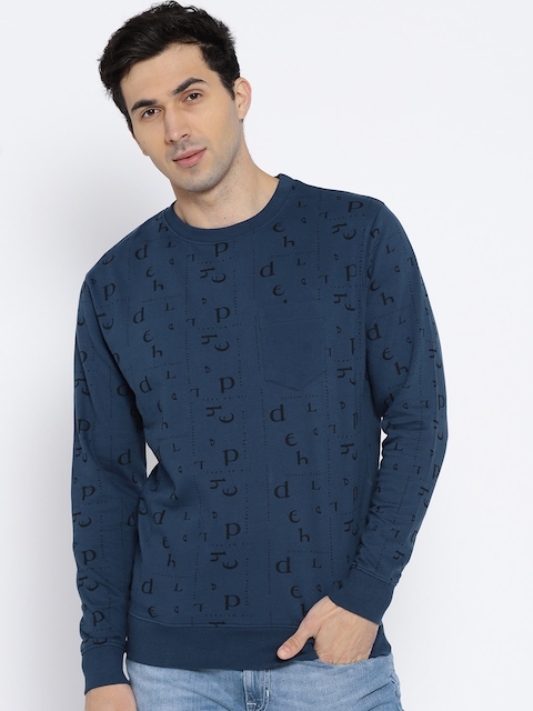 Lee Men Navy Blue Printed Sweatshirt