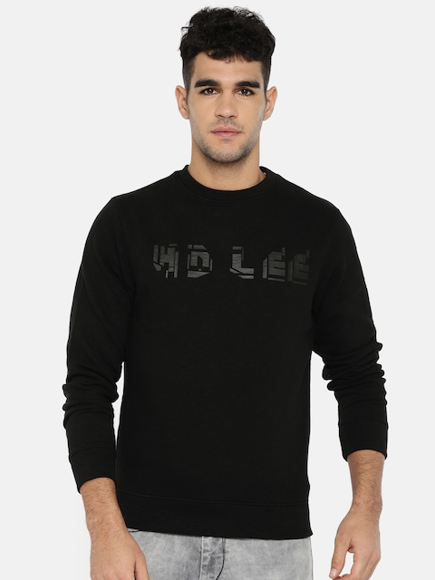 Lee Men Black Printed Sweatshirt