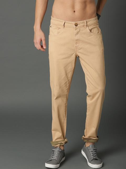 Roadster Men Beige Regular Fit Solid Chinos