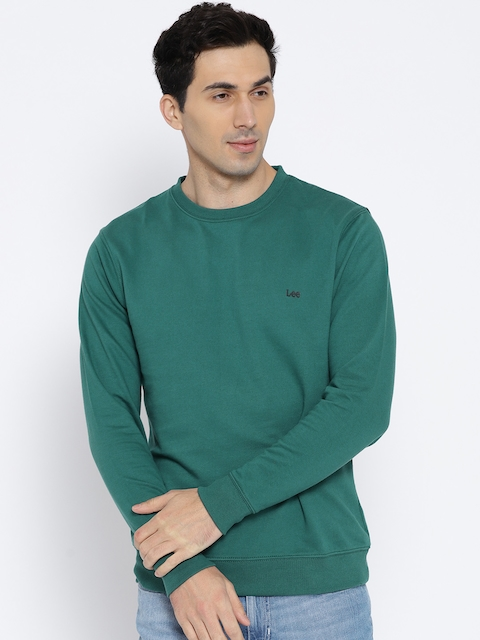Lee Men Green Solid Sweatshirt