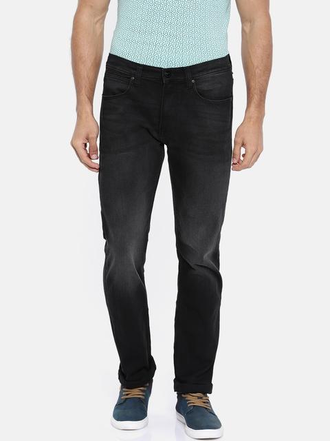 Lee Men Black Slim Fit Mid-Rise Clean Look Stretchable Jeans