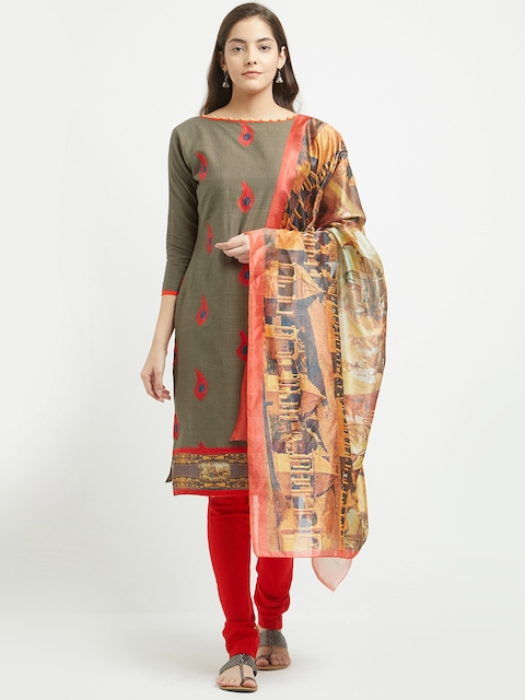 Blissta Olive Green & Red Pure Cotton Unstitched Dress Material