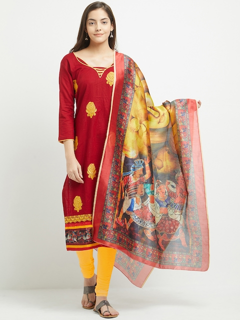 Blissta Red & Yellow Pure Cotton Unstitched Dress Material