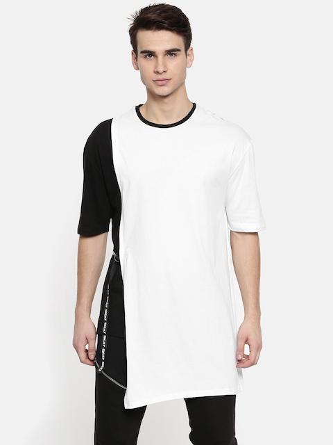SKULT by Shahid Kapoor Men White & Black Colourblocked Round Neck Layered T-shirt