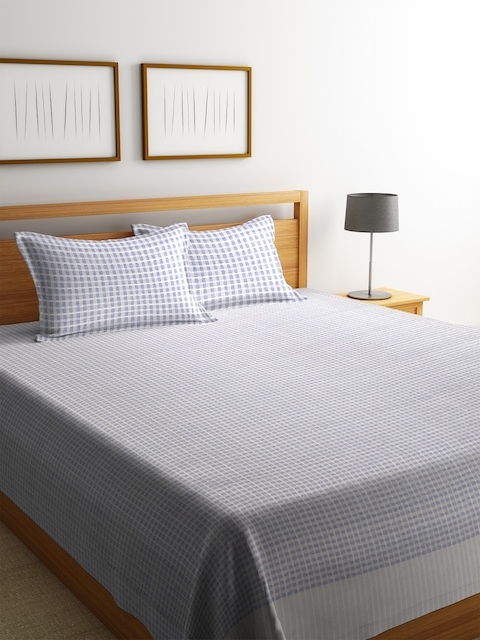 NEUDIS Grey Woven Design Cotton Double Bed Cover with 2 Pillow Covers