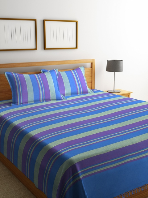 NEUDIS Blue Striped Cotton Double Bed Cover with 2 Pillow Covers
