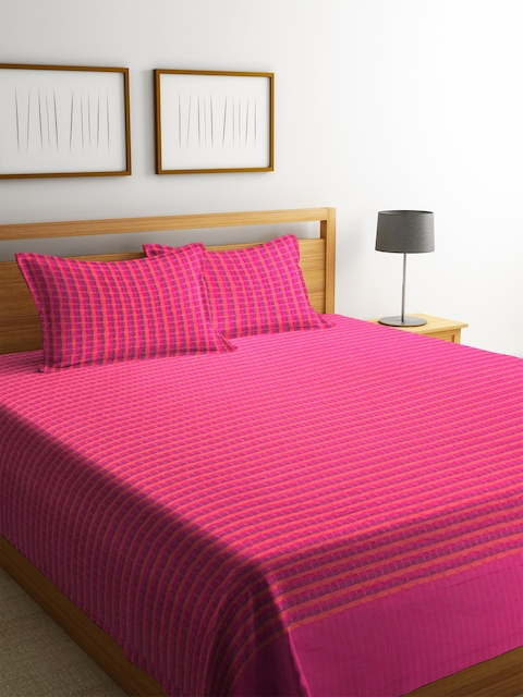 NEUDIS Pink Woven Design Cotton Double Bed Cover with 2 Pillow Covers