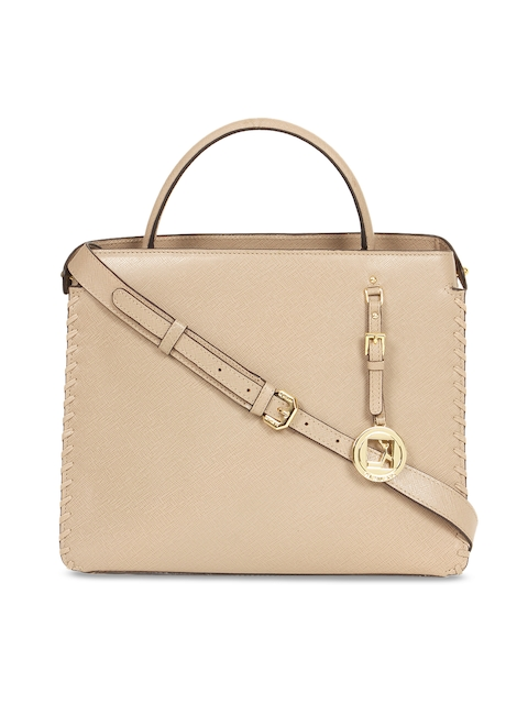 Da Milano Beige Textured Leather Handheld Bag