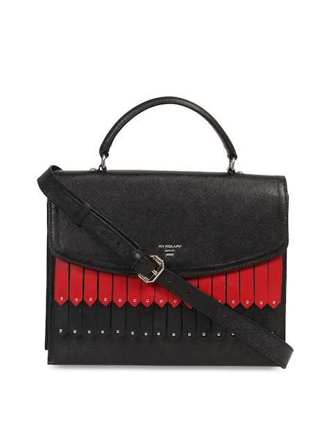 Da Milano Black & Red Textured Leather Handheld Bag