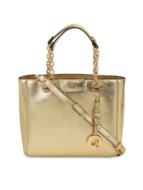 40%off Da Milano Gold-Toned Textured Leather Handheld Bag 57dddb406f895