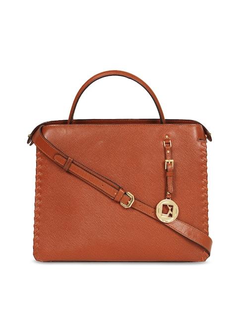 Da Milano Brown Textured Leather Handheld Bag