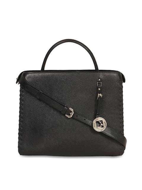Da Milano Black Textured Leather Handheld Bag