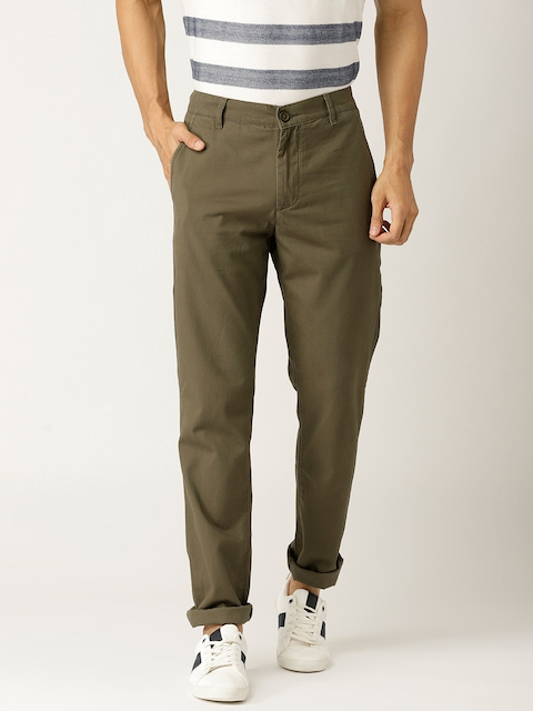 United Colors of Benetton Men Olive Green Slim Fit Solid Chinos
