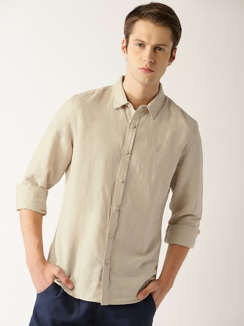 United Colors of Benetton Men Beige Slim Fit Solid Casual Shirt