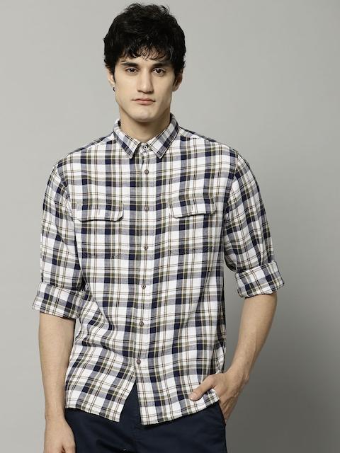 Marks & Spencer Men White & Navy Blue Regular Fit Checked Casual Shirt