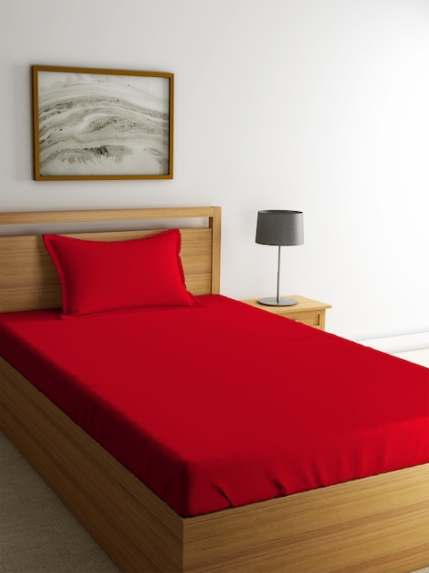 Portico New York Red Solid Fitted 144 TC Cotton 1 Single Bedsheet with 1 Pillow Cover