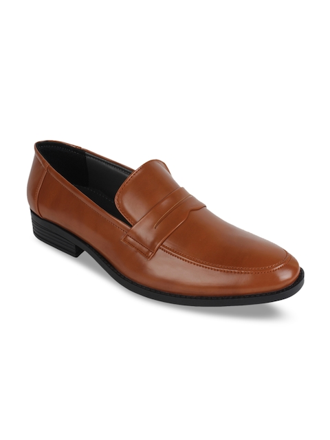 Guava Men Tan Brown Solid Formal Slip-On Shoes