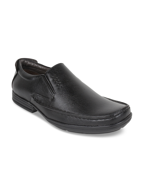 Guava Men Black Textured Formal Slip-On Shoes