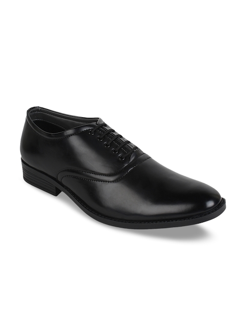 Guava Men Black Solid Formal Oxford Shoes