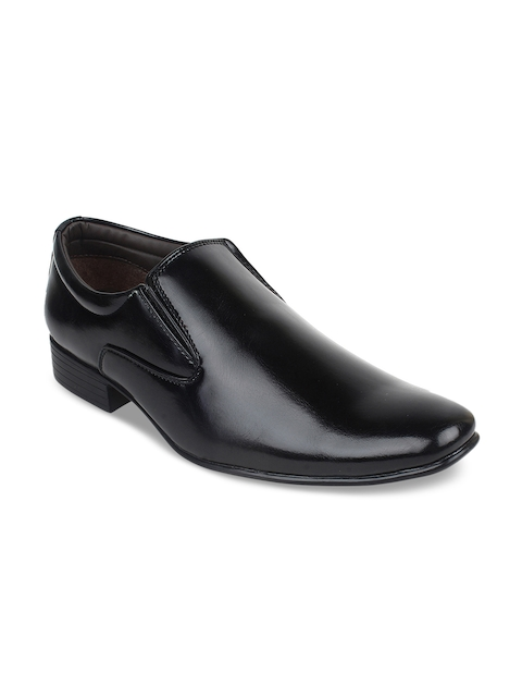 Guava Men Black Solid Formal Slip-On Shoes