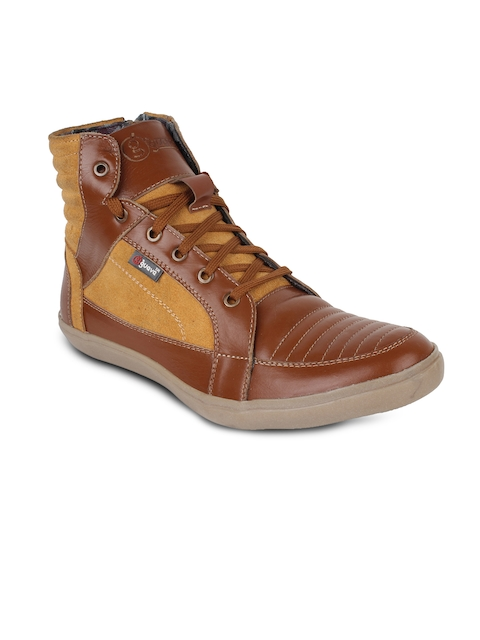 Guava Men Tan Brown Colourblocked Leather High-Top Flat Boots