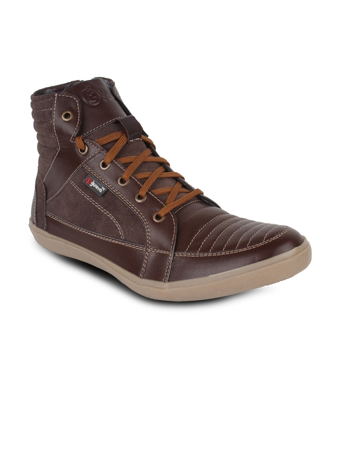 Guava Men Brown Solid Leather High-Top Flat Boots