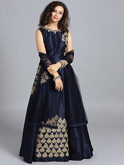 Chhabra 555 Women Navy Blue Zari Embroidered Made to Measure Cocktail Gown With Dupatta