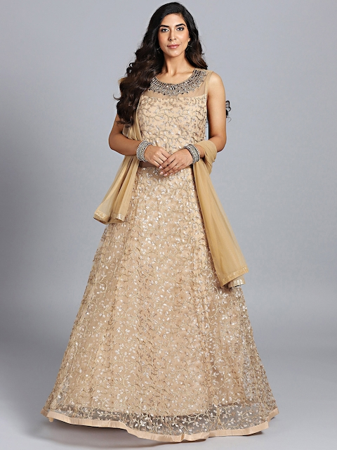 Chhabra 555 Beige Emroidered Stitched Made to Measure Cocktail Gown with Dupatta