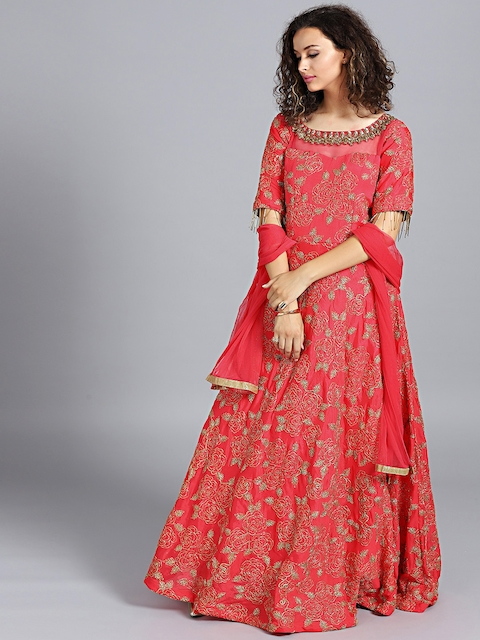Chhabra 555 Women Coral Red Hand Embroidered Made to Measure Cocktail Gown With Dupatta