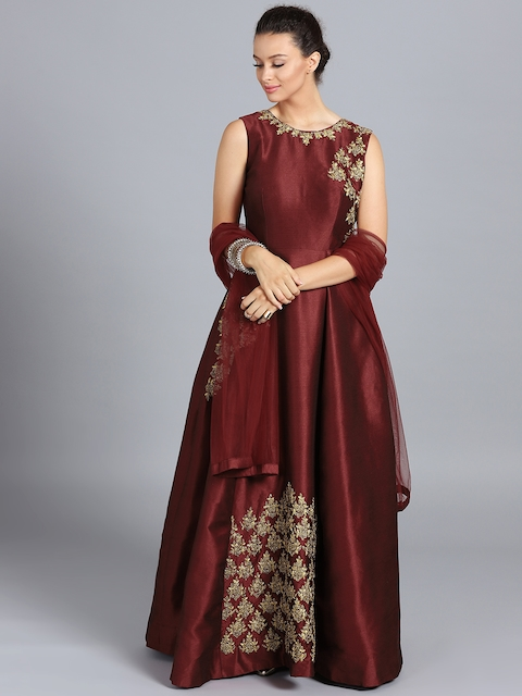 Chhabra 555 Maroon Embellished Stitched Made to Measure Cocktail Gown with Dupatta