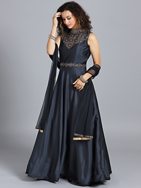 Chhabra 555 Navy blue Embellished Stitched Made to Measure Cocktail Gown with Dupatta
