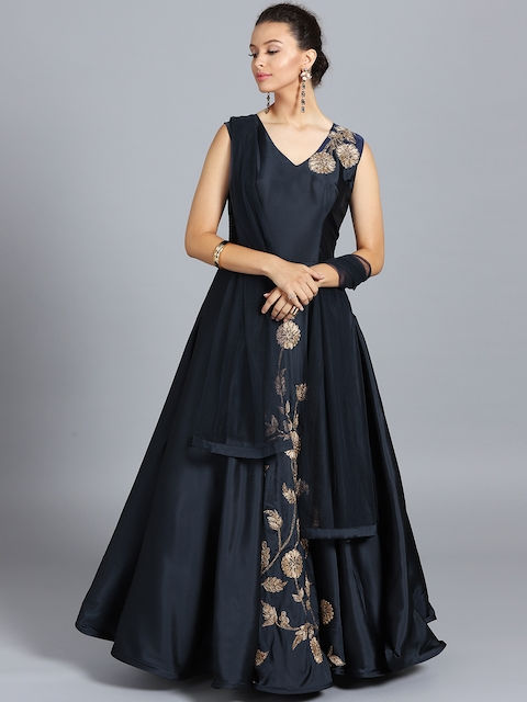 Chhabra 555 Navy Blue Embroidered Stitched Made to Measure Cocktail Gown with Dupatta