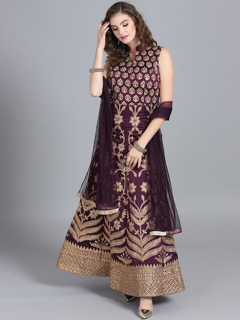 Chhabra 555 Purple Embellished Made to Measure Cocktail Gown with Dupatta