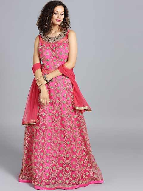 Chhabra 555 Pink Hand Embroidered Stitched Made to Measure Cocktail Gown with Dupatta