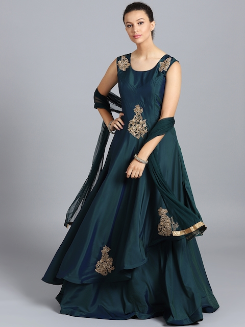Chhabra 555 Teal Green Embellished Stitched Made to Measure Cocktail Gown with Dupatta