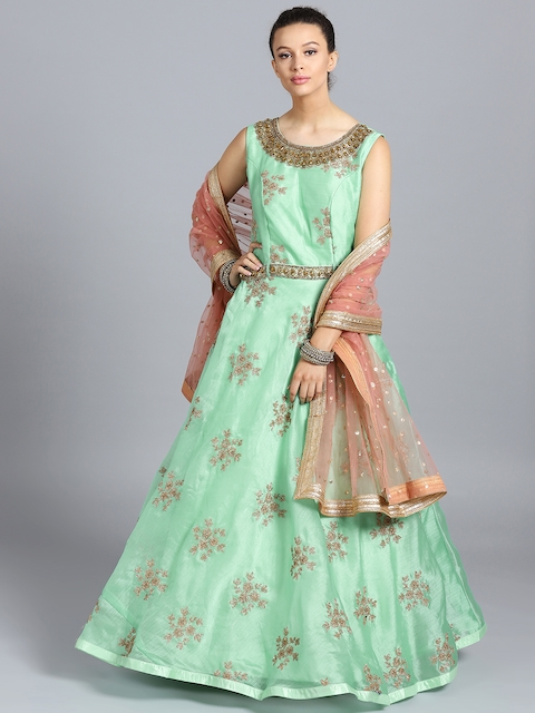 Chhabra 555 Sea Green Embroidered Stitched Made to Measure Cocktail Gown with Dupatta