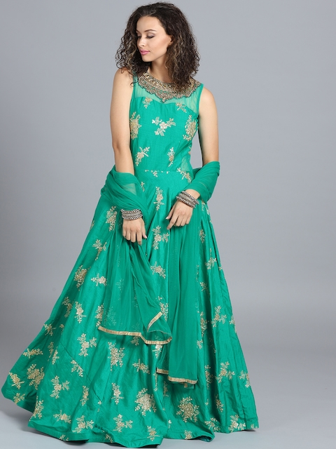 Chhabra 555 Green Emroidered Stitched Made to Measure Cocktail Gown with Dupatta