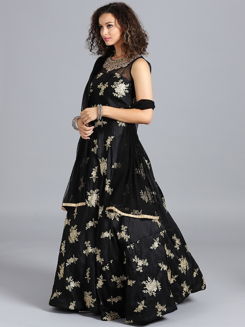 Chhabra 555 Black Hand Embroidered Stitched Made to Measure Cocktail Gown with Dupatta
