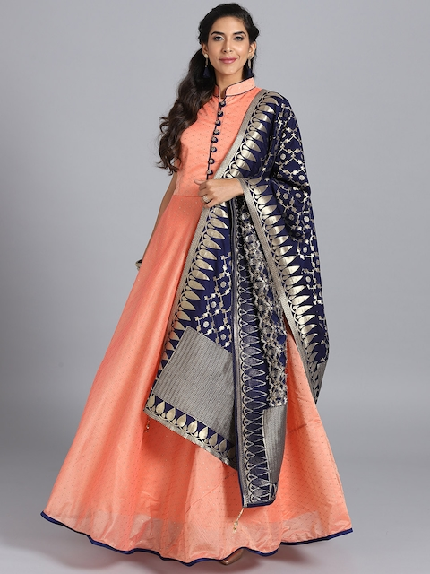 Chhabra 555 Peach-Coloured Embellished Stitched Made to Measure Cocktail Gown with Dupatta