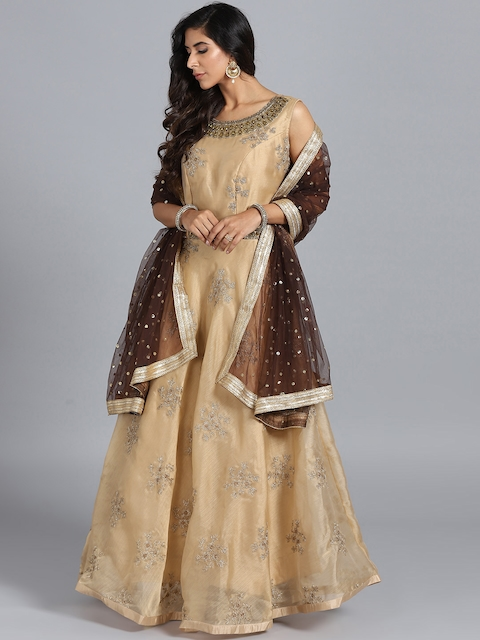 Chhabra 555 Beige Embroidered Stitched Made to Measure Cocktail Gown with Dupatta