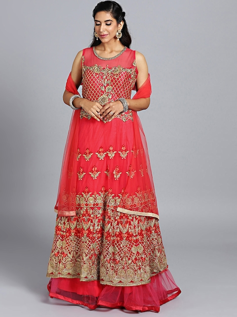 Chhabra 555 Coral Pink Embroidered Stitched Made to Measure Cocktail Gown with Dupatta