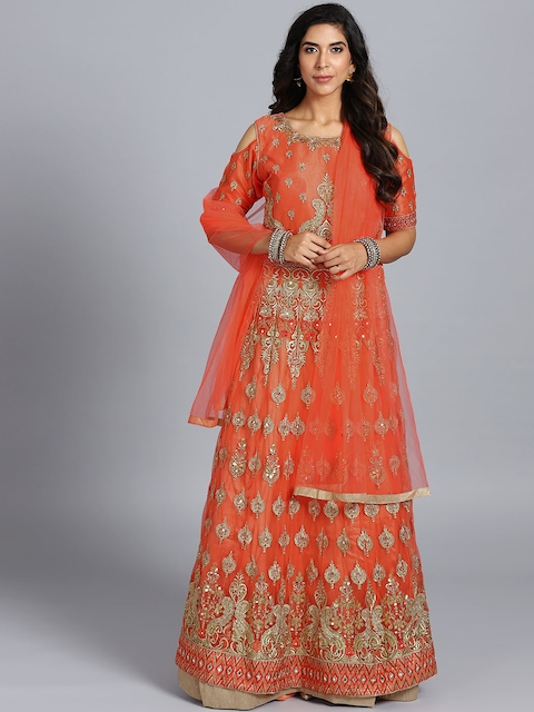 Chhabra 555 Orange Embroidered Stitched Made to Measure Cocktail Gown with Dupatta
