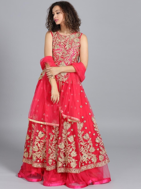 Chhabra 555 Women Pink Mirror Work Embroidered Made to Measure Cocktail Gown With Dupatta